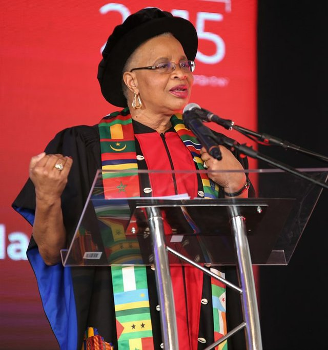 Graça Machel gives a rousing speech