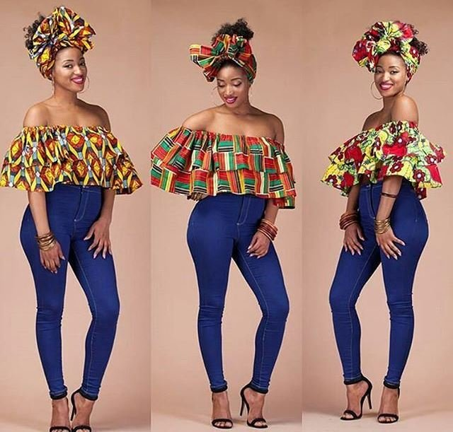 African print with Denim