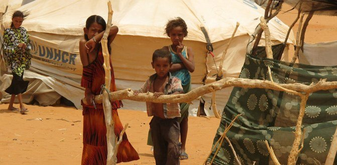 Drought has affected residents of the Mbera refugee camp, Mauritania, in the Sahel region of Africa