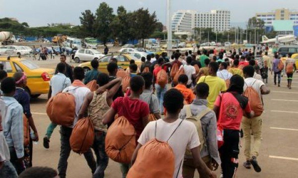 Arrival of migrants at the Bole Addis Ababa International Airport