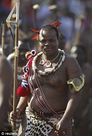 Amorous- As part of Swazi custom, King Mswati II, 45, is permitted to choose a new bride every year