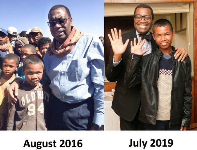 Akinwumi A Adesina and his Malagasy adoptive son Anthony