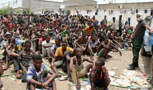 Stranded Ethiopian migrants in Yemen