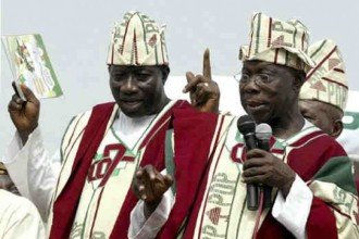 Goodluck Jonathan and Olusegun Obasanjo