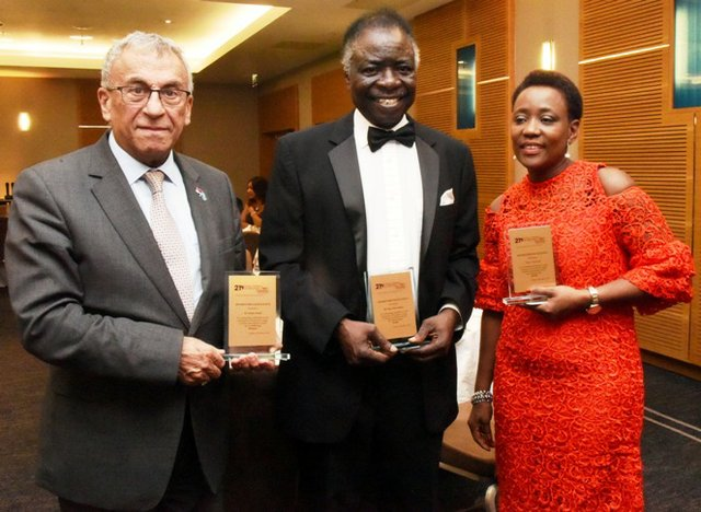 GAB Awards recipients: Dr Adonis Aboud, Dr Titus Odedun, and Prof Lynch (represented by Mrs Nana Oguntola)