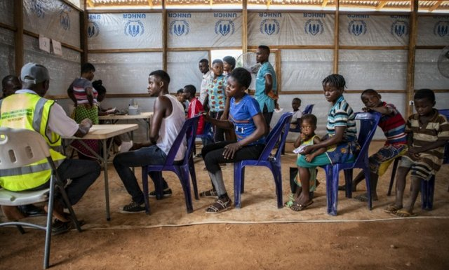 Anglophone refugees from Cameroon are registered by UNHCR staff at Okende Settlement in Ogoja, Nigeria, April 2019
