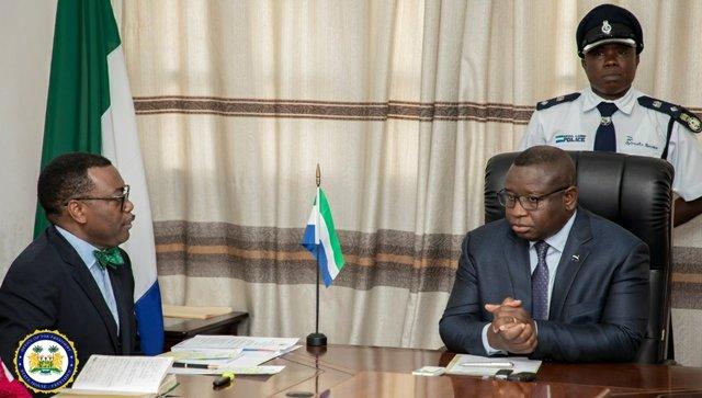Dr Akinwumi Adesina and President Julius Maada Bio
