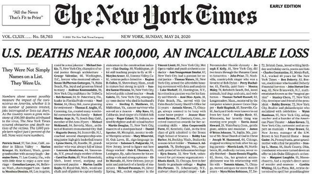 New York Times COVID-19 front page