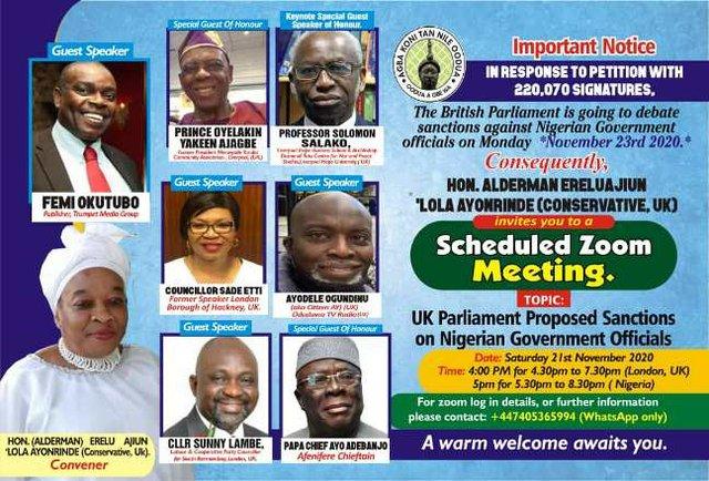 Discuss UK's proposed sanctions against Nigerian officials