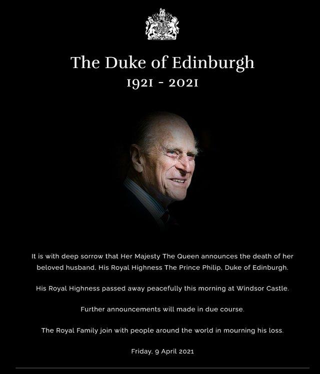 Death of the Duke of Edinburgh