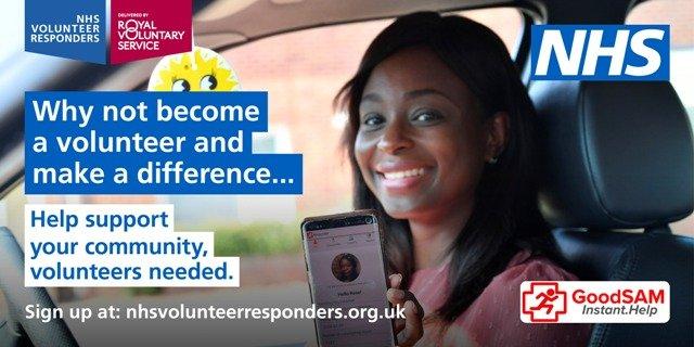 NHS Volunteer Responders urgently needed. Help support your community