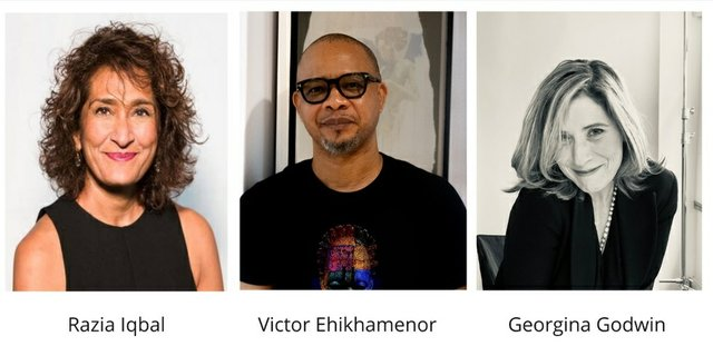 The AKO Caine Prize judges - Razia Iqbal, Victor Ehikhamenor and Georgina Godwin