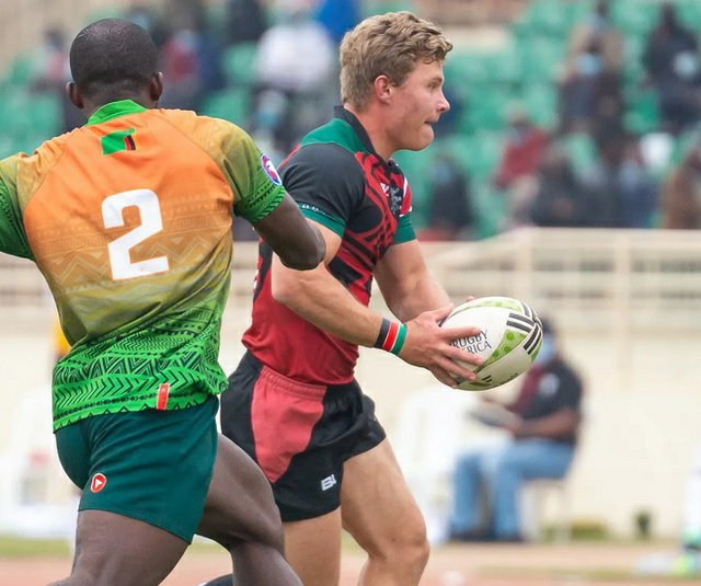 Kenya's Dominic Coulson in action against Zambia