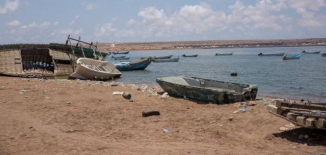 Wrecked boats in Obock, Djibouti