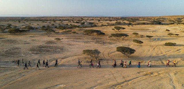 Migrants crossing the desert to Obock, Djibouti