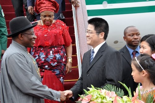 President Jonathan and First Lady Dame Patience Jonathan being received by China's Vice Minister of Foreign Affairs, Mr. Li Yucheng