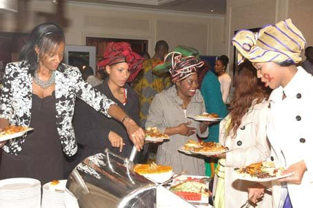 Guests helping themselves to the Eat Like A King buffet.JPG