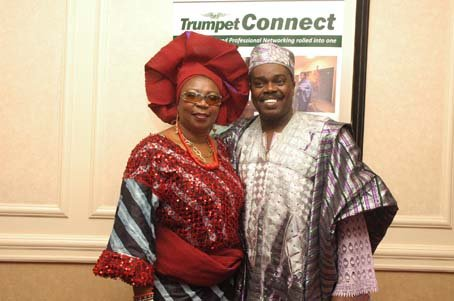 Past GAB Awards recipient and the evening's Compere, Princess Deun Adedoyin-Solarin and Femi Okutubo.JPG