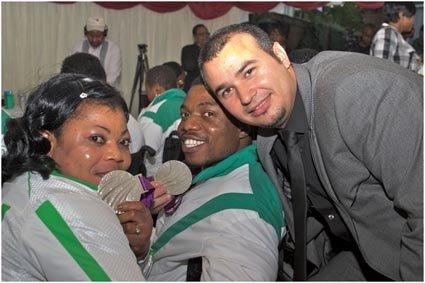 Silver medalist Lucy Ejike 56 kg powerlifting.&Silver medalist Ikechukwu Obichukwu powerlifting men s 52kg ..jpg