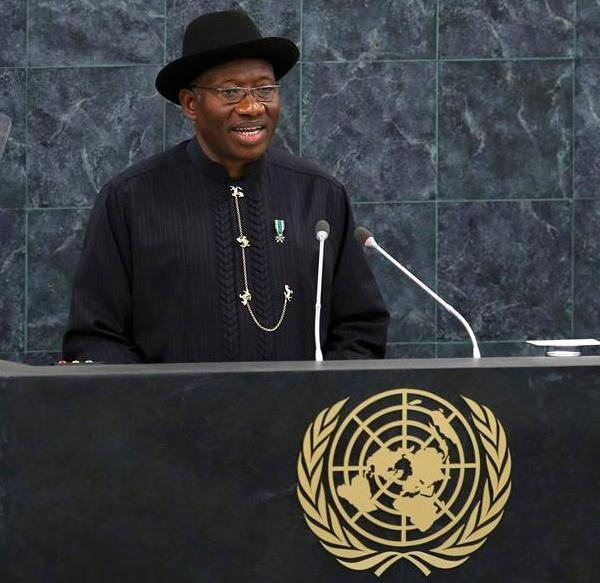 President Jonathan addressing the UN General Assembly