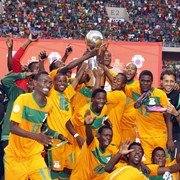 Zambia's team celebrating victory after beating Zimbabwe in the COSAFA Cup final.