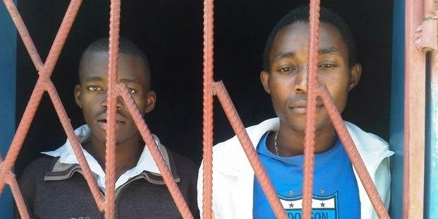 "James Mwape (L) and Philip Mubiana (R) are facing charges of having sex ""against the order of nature"""