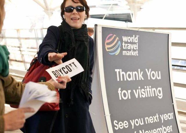 Protestors called for a tourism boycott of Botswana at the opening of the World Travel Market in London.