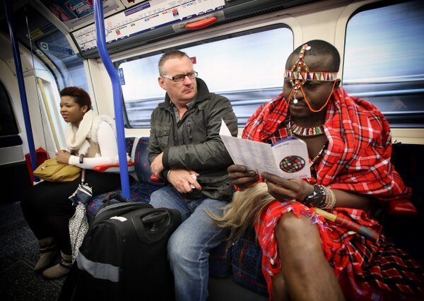 A proud Kenyan Masai on London Underground